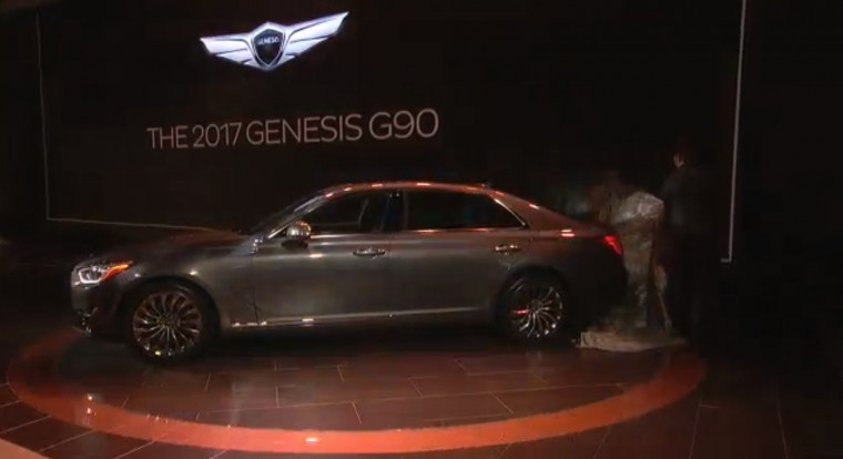 2017 Genesis G90 debut at North American Internation Auto Show Detroit unveil