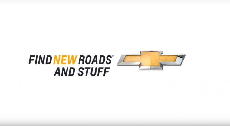 Chevrolet technology and stuff parody Find New Roads and Stuff logo