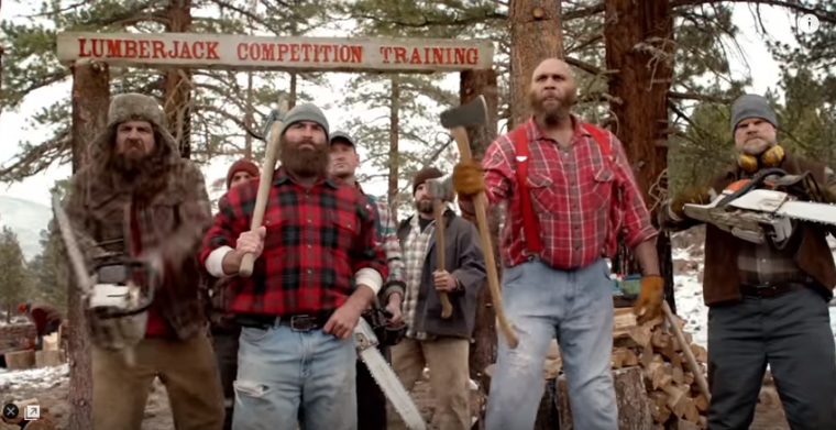 "Actor James Marsden stars in Toyota's new commercial titled ""Lumberjack Challenge"""