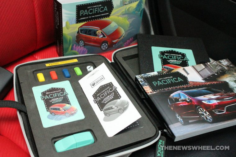 2017 Chrysler Pacifica Race to the Family Reunion board game review components