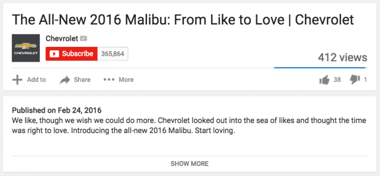 2016 Chevy Malibu commercial from like to love has 38 likes on YouTube
