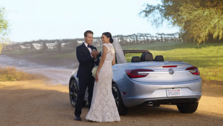"Still from 2016 Buick Cascada wedding commercial, ""that's not a Buick!"""