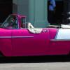 Cuban Classic Car Pink Silhouette