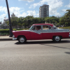 Cuban Classic Car Red with White Stripe
