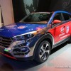 Hyundai Santa Fe NFL promotion model at 2016 Chicago Auto Show