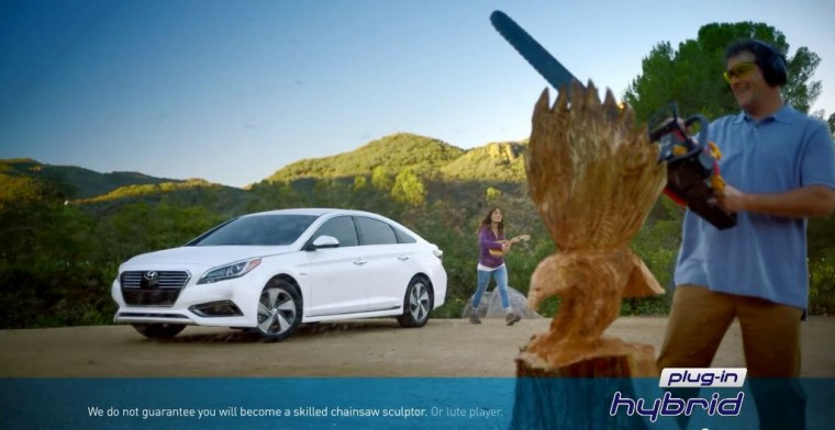 Hyundai Sonata Plug-In Hybrid commercial for range anxiety spoofs pharmaceutrical ads chainsaw