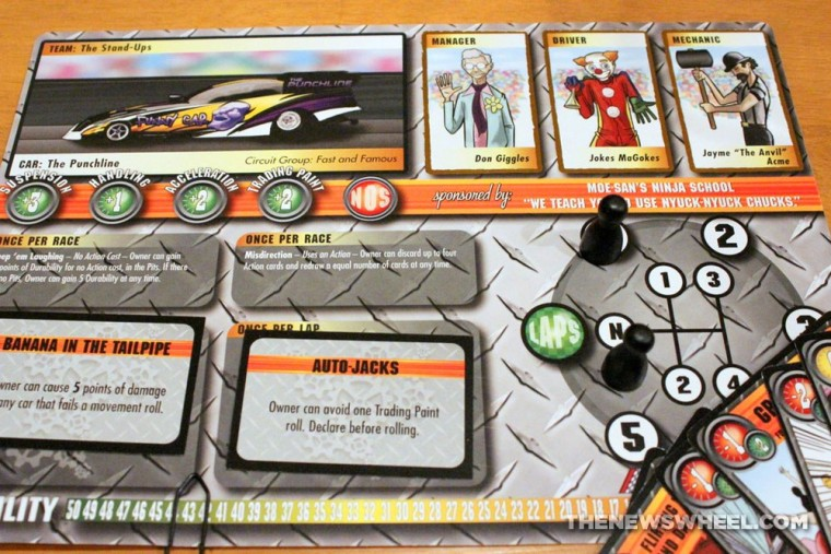 Thrash Car Racing Board Game Review Solar Flare placards