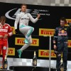 Rosberg jumps on the 2016 Chinese Grand Prix podium.