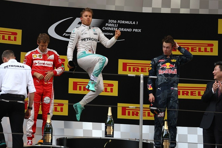 Rosberg jumps on the 2016 Chinese Grand Prix podium.