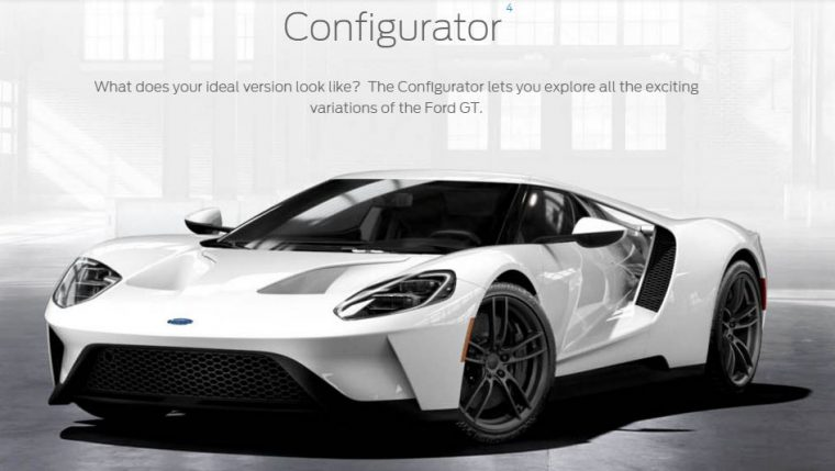 2017 Ford GT Configurator start page