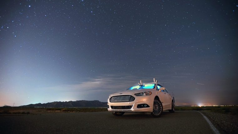Ford Fusion Hybrid Autonomous Research Vehicle driving at night