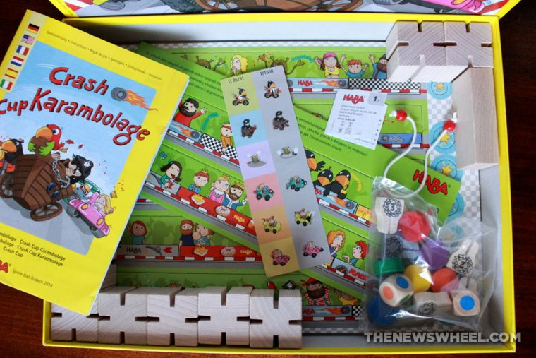 Crash Cup Karambolage board game from HABA review box components