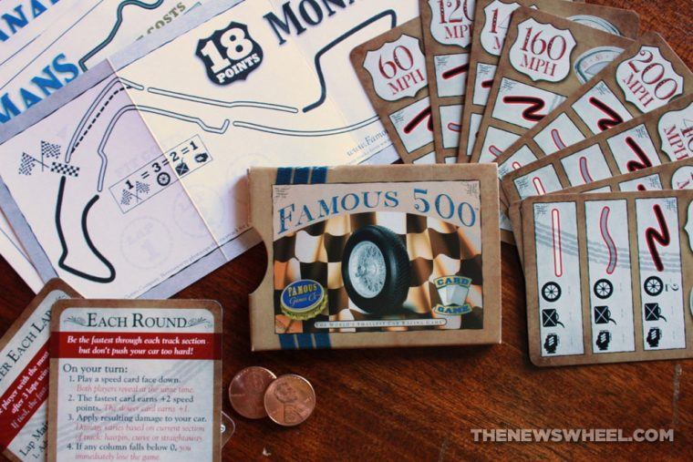 Famous 500 racing card game components