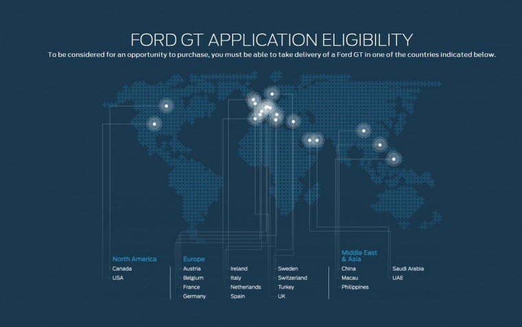 Ford GT Application Availability map