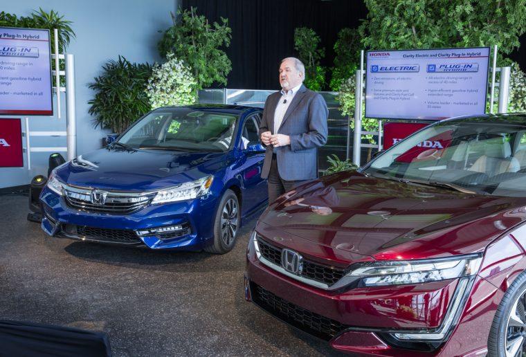 Honda VP John Mendel announces the Clarity Series (right) and the 2017 Honda Accord Hybrid (left)