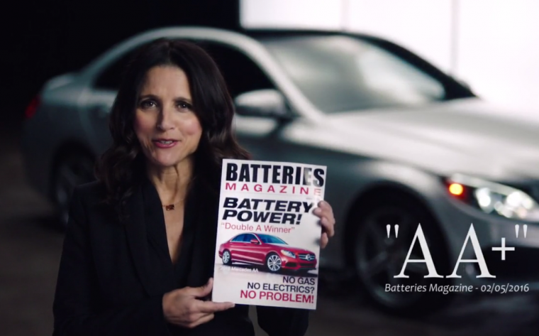 Julia Louis-Dreyfus promotes battery-powered Mercedes-Benz AA-Class on Saturday Night Live