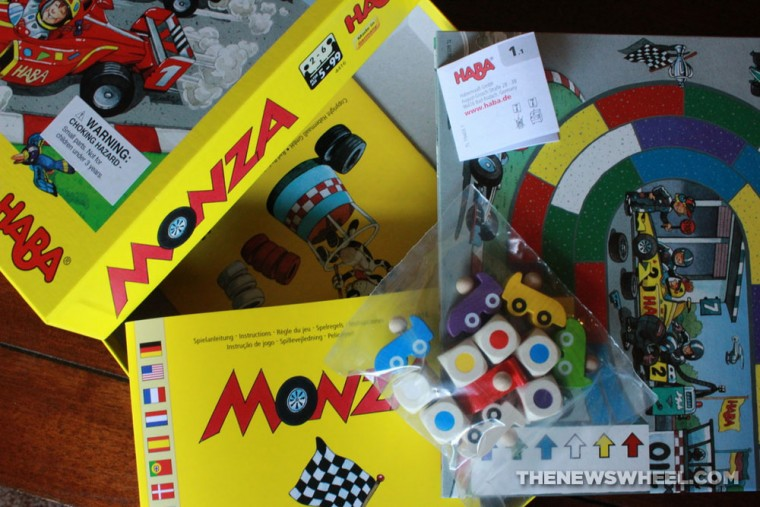 Monza children's board game from HABA review box components