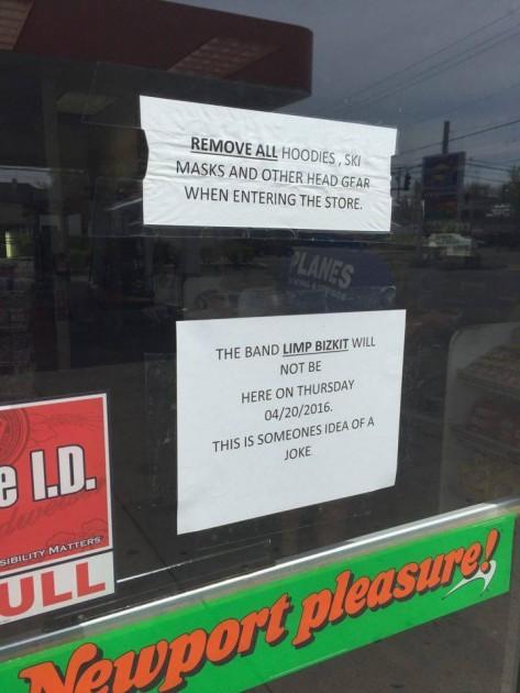 Sunoco gas station Limp Bizkit sign