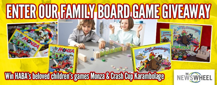 The News Wheel Family Children's board game giveaway banner