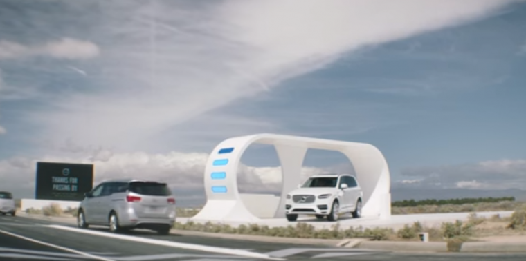 """Volvo's new campaign titled """"Highway Robbery"""" shows how the new XC90 T8 plug-in hybrid SUV can be charged by other cars on the road"""