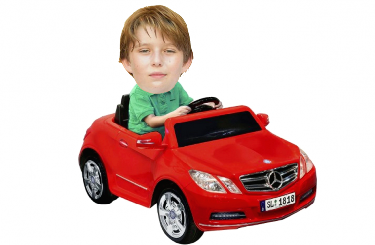 Donald Trump's ten-year-old son Barron Trump and his toy Mercedes
