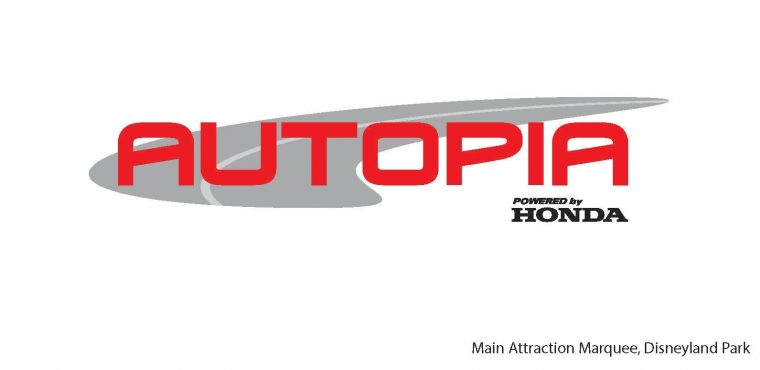 Rendering of Autopia main attraction marquee, Disneyland Park, Anaheim, CA. Honda announced its sponsorship of the classic attraction, which dates back to the opening day of Disneyland Park in 1955.