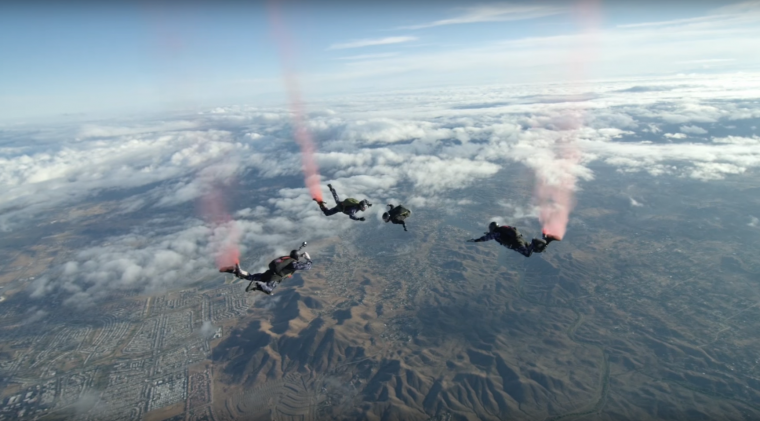 GMC #enlistme 360 video hosted by Josh Duhamel features veterans skydiving