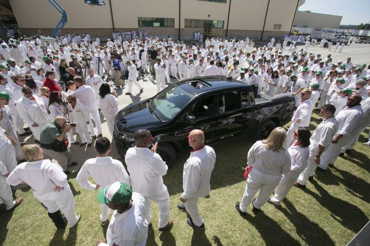 Honda Manufacturing of Alabama associates gather around the all-new 2017 Honda Ridgeline
