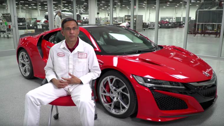 Honda employee Clement D'Souza with the 2017 Acura NSX