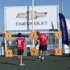 Manchester United legend Quinton Fortune plays with Oscar, the 11th and final member of the Chevrolet Mascot Starting XI