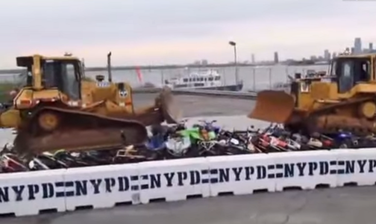 Motorbikes and ATVs confiscated by the NYPD were recently destroyed using a bulldozer and the carnage was streamed live on Facebook