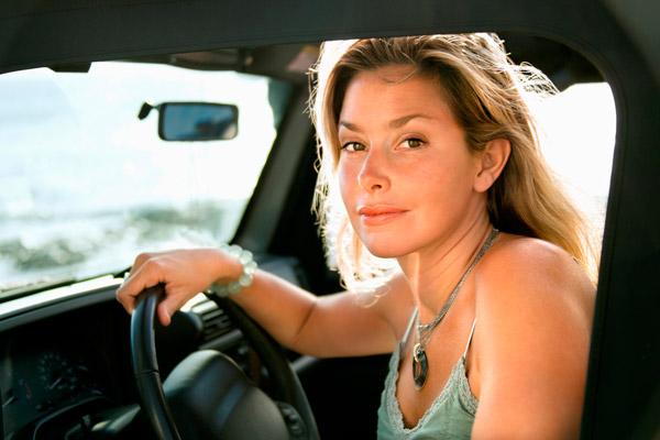 Sunny driving UV rays tan driver