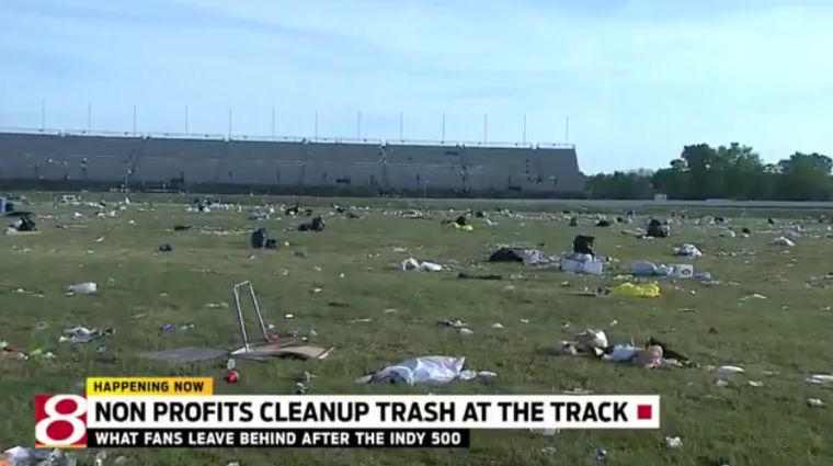 Trash left at the Brickyard after the 100th running of the Indy 500