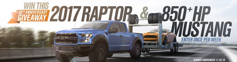 Win a Ford F-150 Raptor and a 2015 Mustang GT