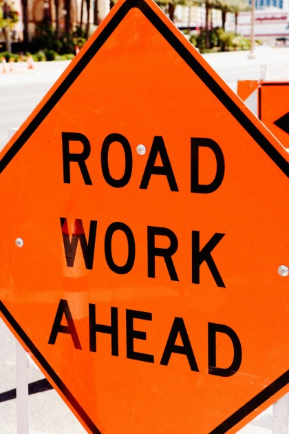 road work construction sign