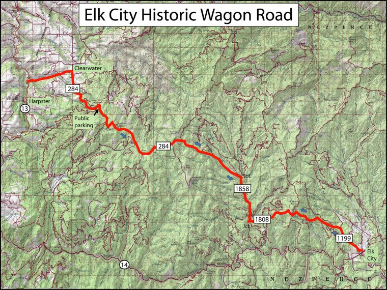 A map of the Elk City Historic Wagon Road
