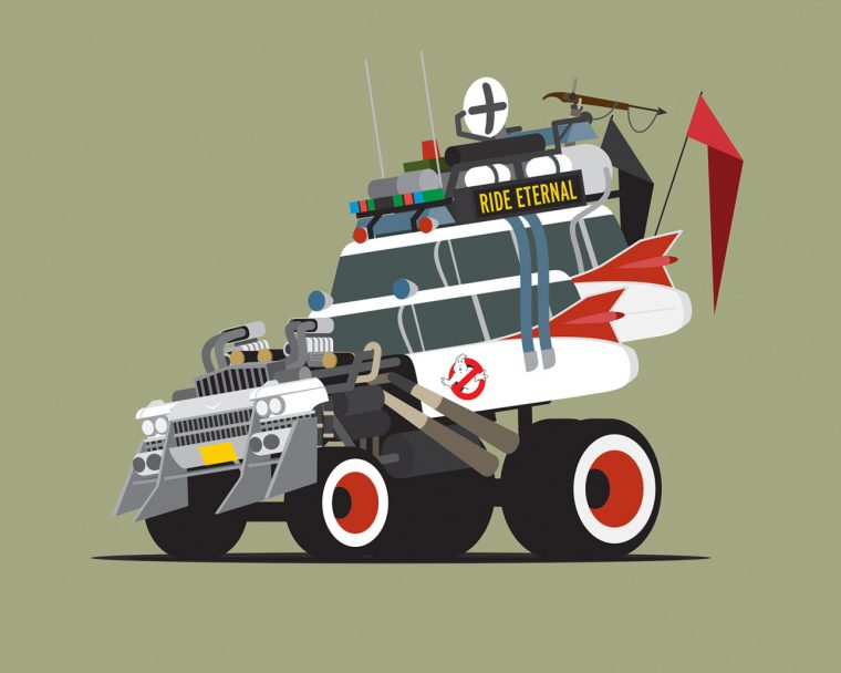 Ghostbusters Ecto-1 and Immortan Joe Gigahorse from Mad Max: Fury Road
