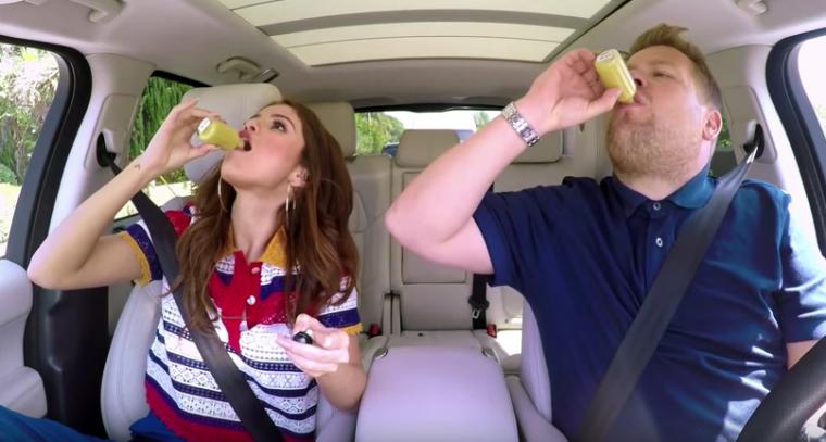 James Corden Selena Gomez Carpool Karaoke Ginger Shot
