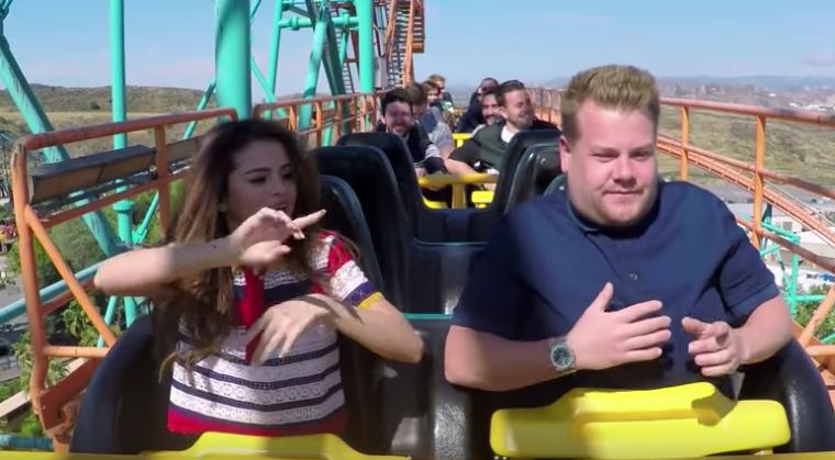 James Corden Selena Gomez Carpool Karaoke Roller Coaster End