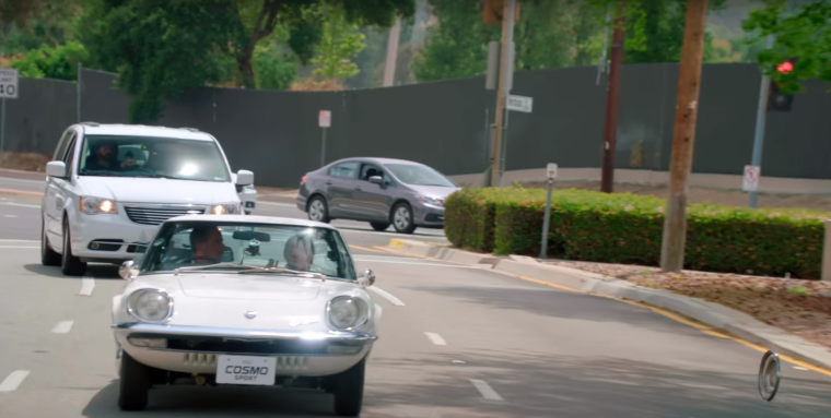 Jerry Seinfeld and Margaret Cho in Mazda Cosmo Sport
