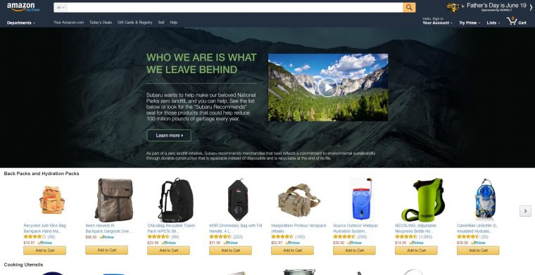 Subaru recommends Amazon products - zero landfill