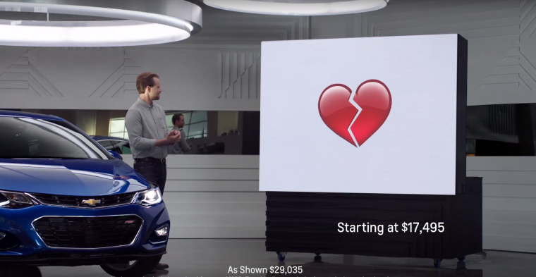 "A ""Real People, Not Actors"" car commercial for the 2016 Chevy Cruze uses emojis"