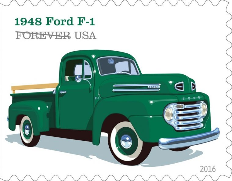 The 1948 Ford F-1 is one of the vehicles featured in the U.S. Postal Service's new stamp collection that pays tribute to pickup trucks