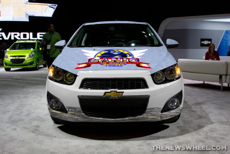 "Front fascia of 2017 Chevy Sanic, a parody of Sonic the Hedgehog memes such as ""Gotta Go Fast"""