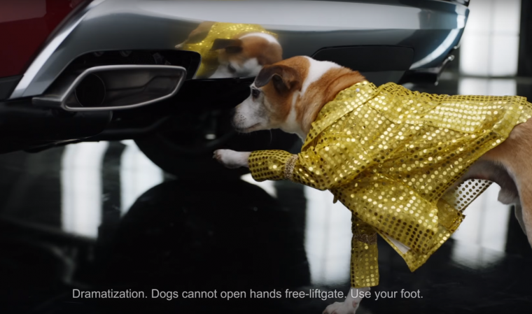 GMC Acadia commercial Pets shows dog using hands free liftgate