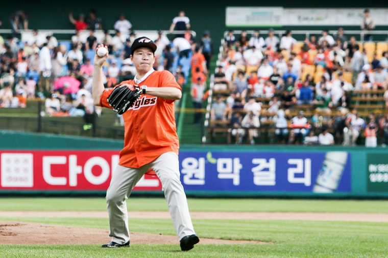 James Kim throws out first pitch