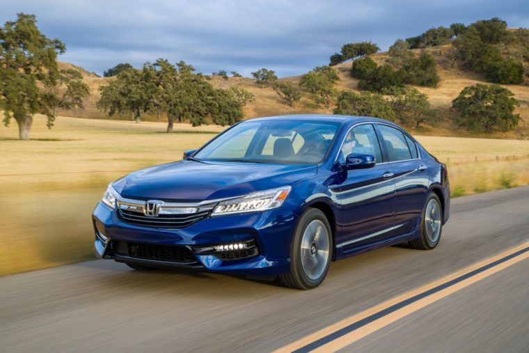 The 2017 Honda Accord Hybrid sedan yields EPA-estimated fuel economy of 49 mpg on the highway, but still comes with an affordable price tag