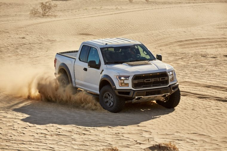 White 2017 Ford F 150 Raptor In Desert