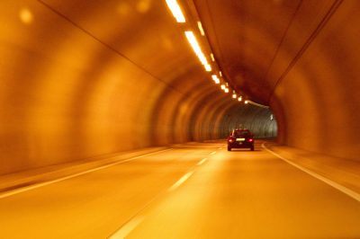 long road in tunnel driving