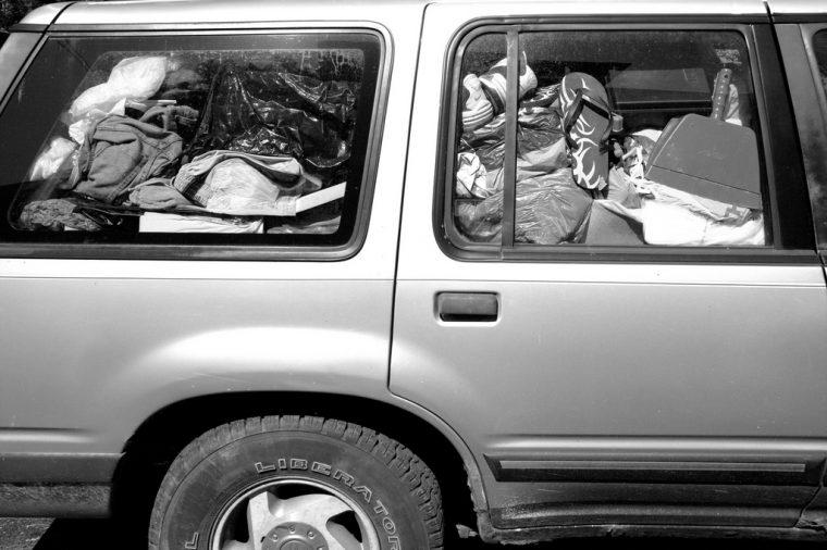 messy car clutter junk piles